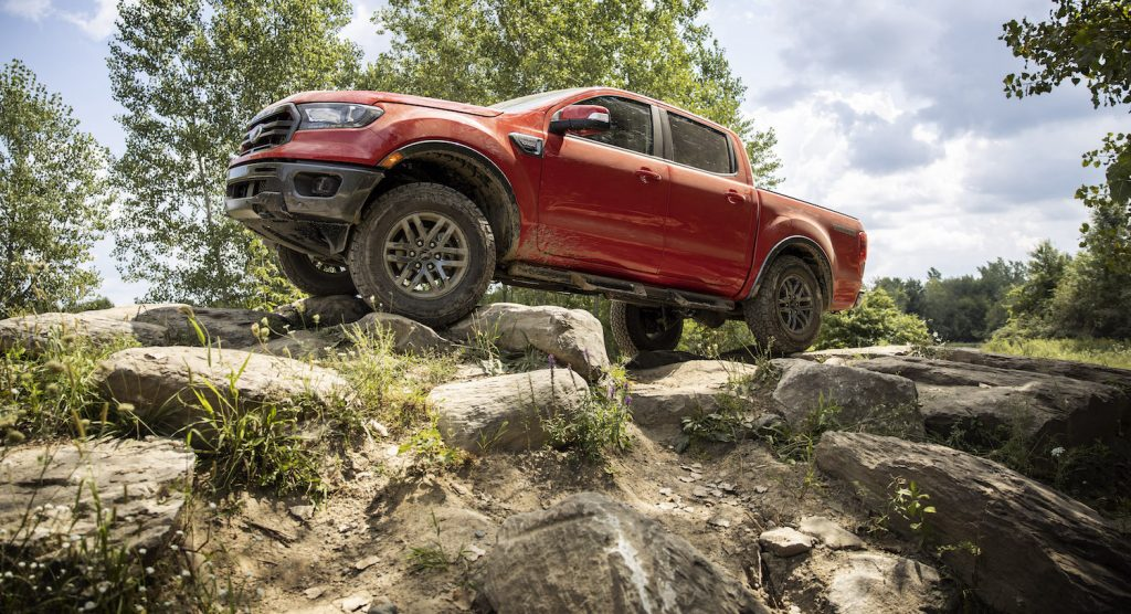 2021 Ford Ranger in red, on the trails